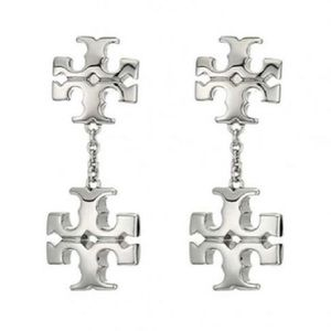 Tory Burch Silver Kira Linear Double Logo Earring